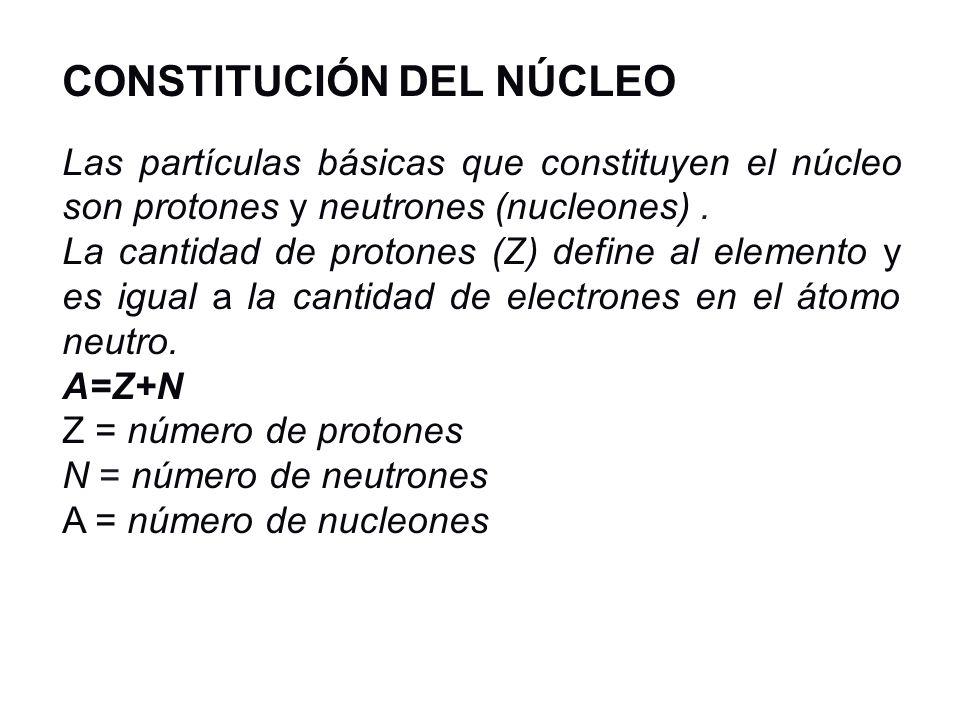CONSTITUCIÓN DEL NÚCLEO Las partículas básicas que constituyen el núcleo son protones y neutrones (nucleones). La cantidad de protones (Z) define al e