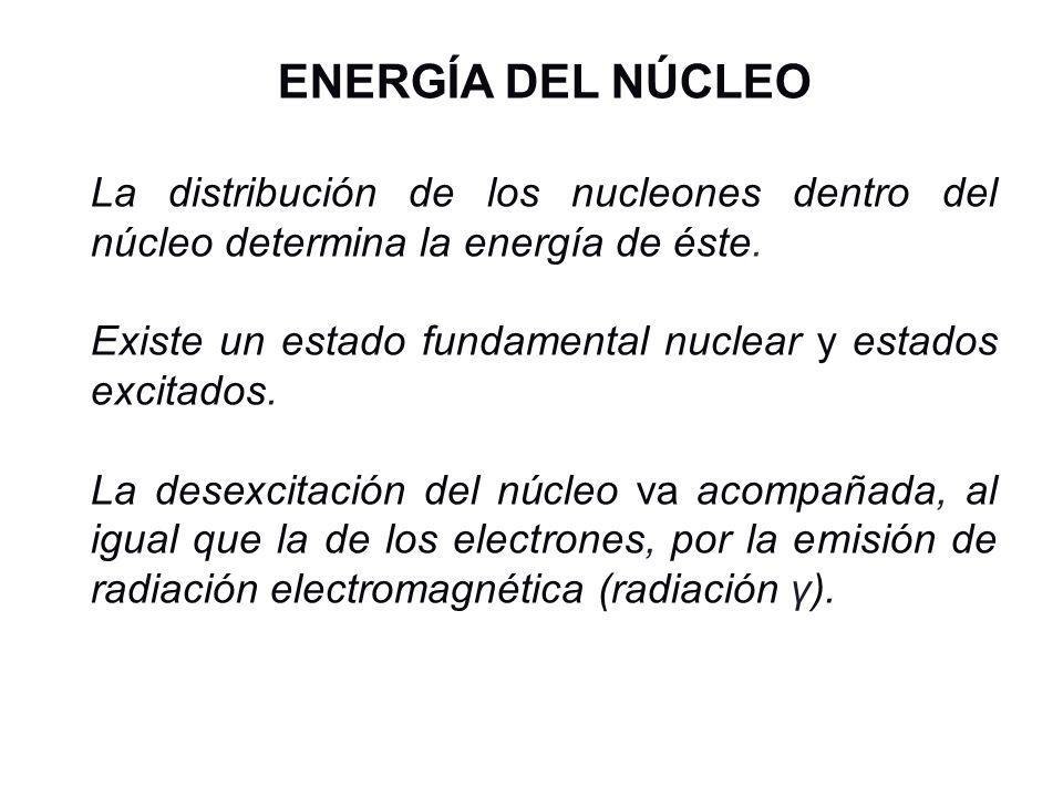 ENERGÍA DEL NÚCLEO La distribución de los nucleones dentro del núcleo determina la energía de éste. Existe un estado fundamental nuclear y estados exc