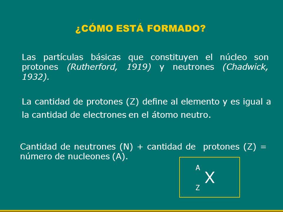 ¿CÓMO ESTÁ FORMADO? Las partículas básicas que constituyen el núcleo son protones (Rutherford, 1919) y neutrones (Chadwick, 1932). La cantidad de prot