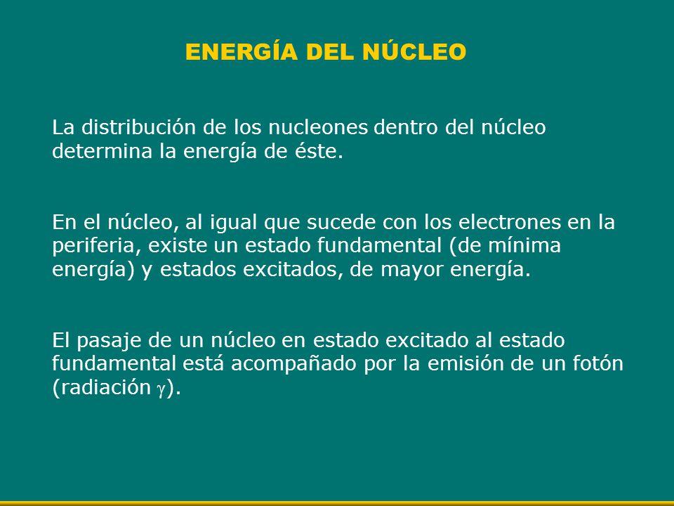 La distribución de los nucleones dentro del núcleo determina la energía de éste. En el núcleo, al igual que sucede con los electrones en la periferia,