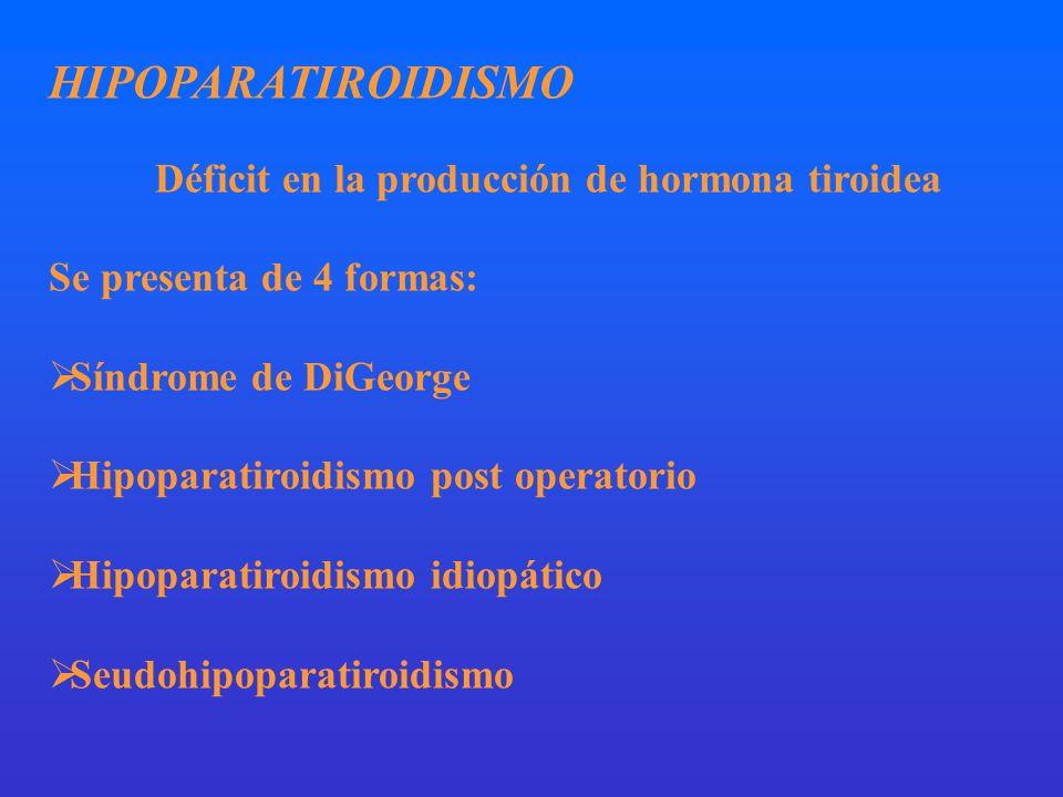 HIPOPARATIROIDISMO Déficit en la producción de hormona tiroidea Se presenta de 4 formas: Síndrome de DiGeorge Hipoparatiroidismo post operatorio Hipoparatiroidismo idiopático Seudohipoparatiroidismo