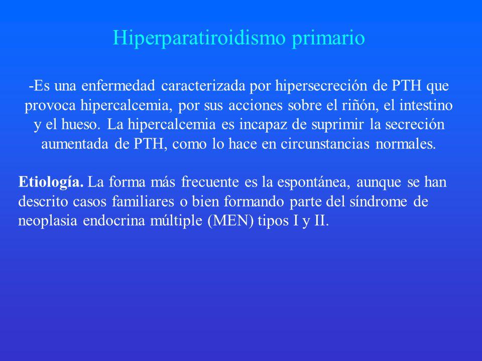 Hiperparatiroidismo primario -Es una enfermedad caracterizada por hipersecreción de PTH que provoca hipercalcemia, por sus acciones sobre el riñón, el intestino y el hueso.