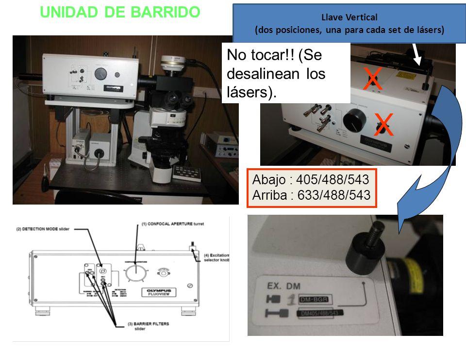 UNIDAD DE BARRIDO Abajo : 405/488/543 Arriba : 633/488/543 Llave Vertical (dos posiciones, una para cada set de lásers) X X No tocar!! (Se desalinean