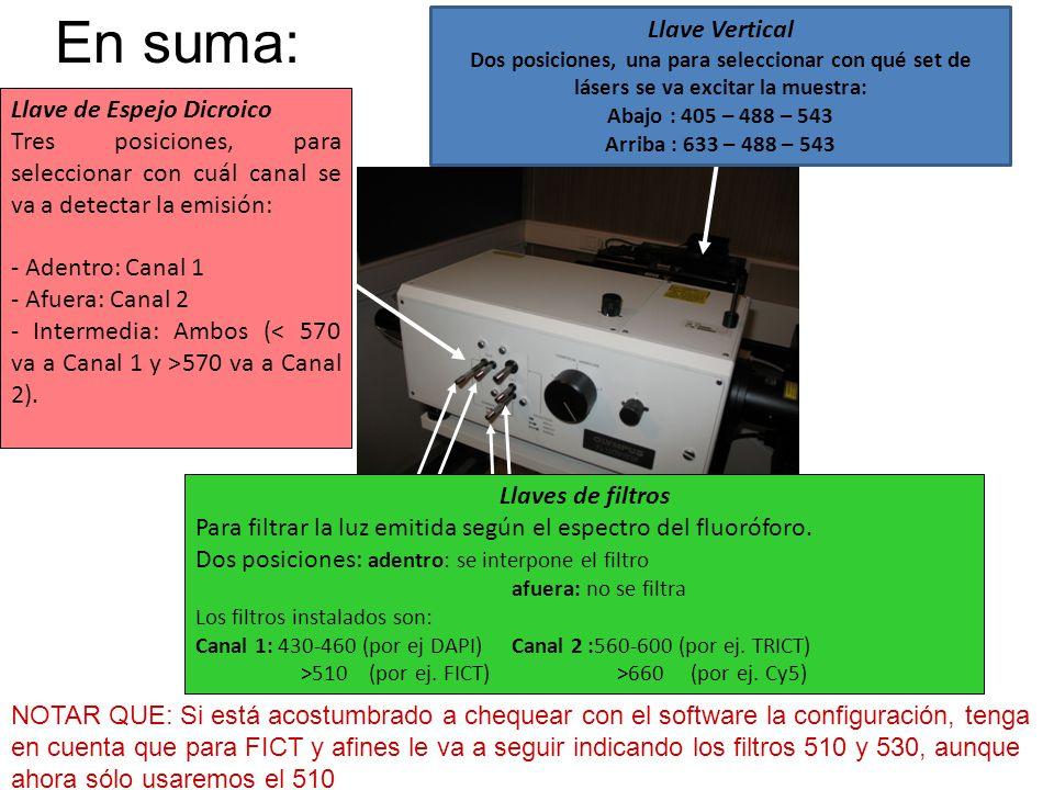 Llave de Espejo Dicroico Tres posiciones, para seleccionar con cuál canal se va a detectar la emisión: - Adentro: Canal 1 - Afuera: Canal 2 - Intermed