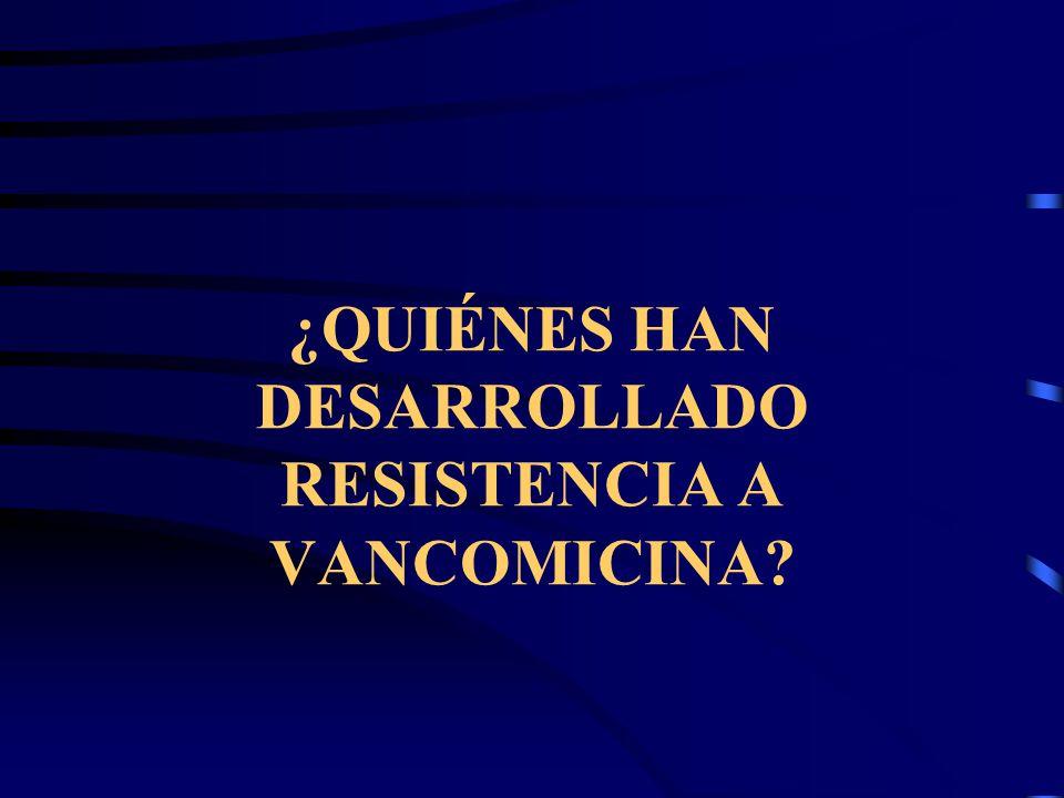 Enterococcus spp Debe investigarse susceptibilidad a Vancomicina Fenotipos más frecuentes Van A VanB Más frecuente en E faecium y algunos aislamientos de E.faecalis Antibiograma por disco para Vancomicina no es suficiente
