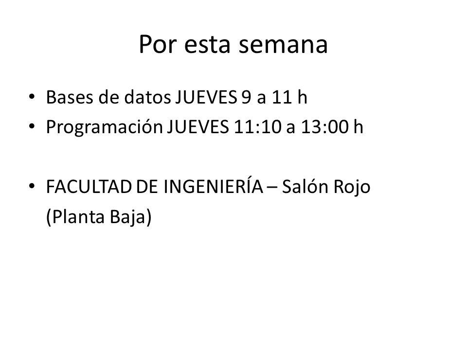 Por esta semana Bases de datos JUEVES 9 a 11 h Programación JUEVES 11:10 a 13:00 h FACULTAD DE INGENIERÍA – Salón Rojo (Planta Baja)