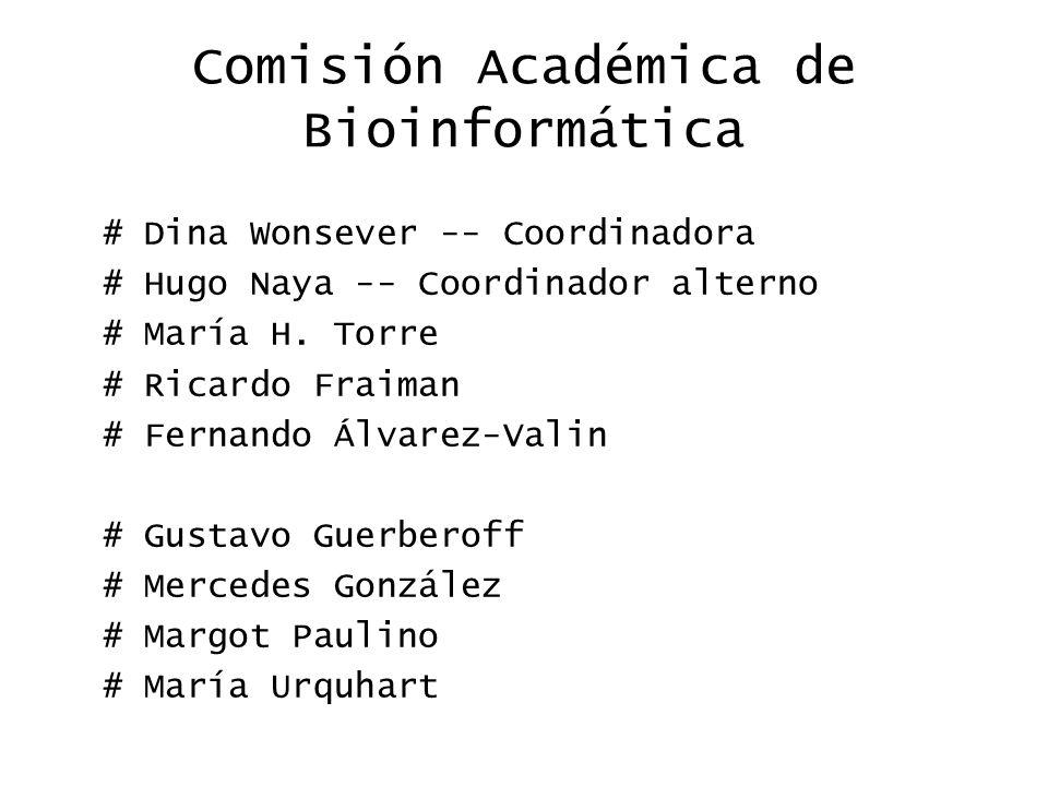 Comisión Académica de Bioinformática # Dina Wonsever -- Coordinadora # Hugo Naya -- Coordinador alterno # María H.