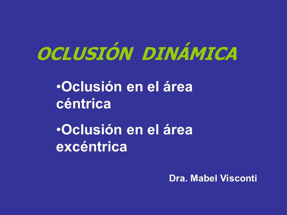 OCLUSIÓN DINÁMICA Oclusión en el área céntrica Oclusión en el área excéntrica Dra. Mabel Visconti