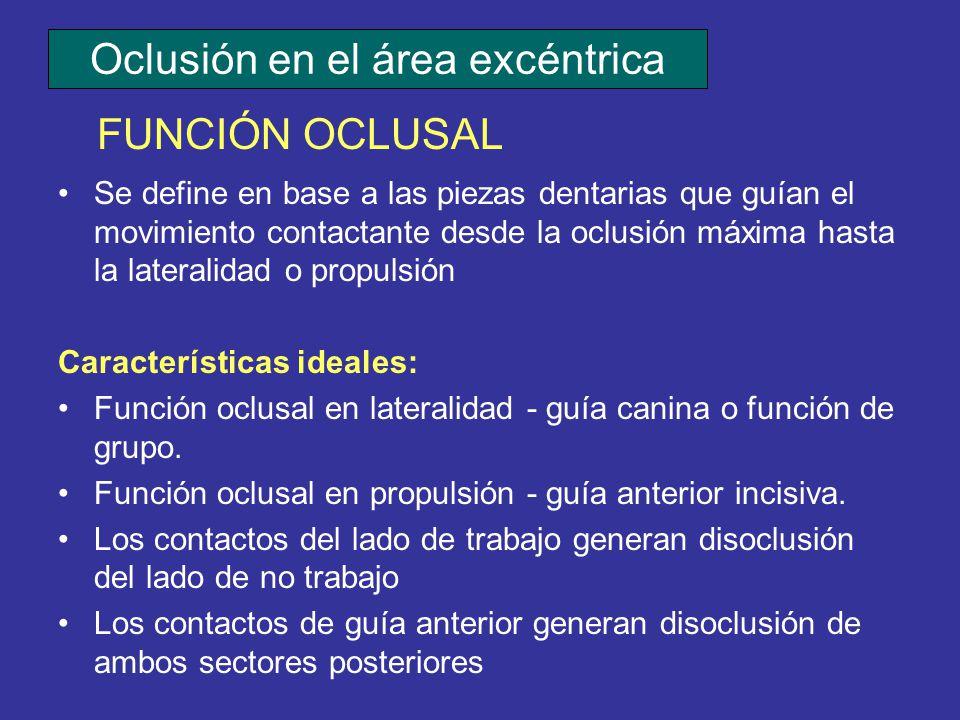 Se define en base a las piezas dentarias que guían el movimiento contactante desde la oclusión máxima hasta la lateralidad o propulsión Característica