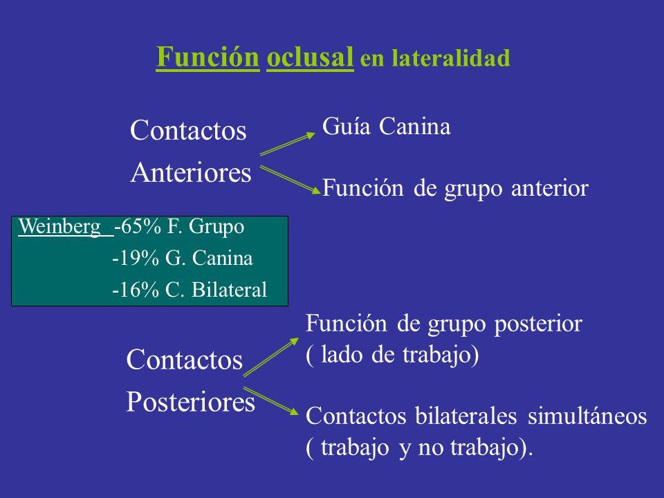 Función oclusal en lateralidad Contactos Anteriores Guía Canina Función de grupo anterior Función de grupo posterior ( lado de trabajo) Contactos bila