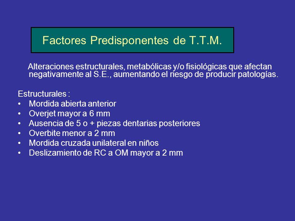 Factores Predisponentes de T.T.M. Alteraciones estructurales, metabólicas y/o fisiológicas que afectan negativamente al S.E., aumentando el riesgo de