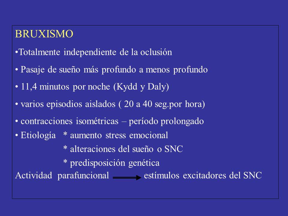 BRUXISMO Totalmente independiente de la oclusión Pasaje de sueño más profundo a menos profundo 11,4 minutos por noche (Kydd y Daly) varios episodios a