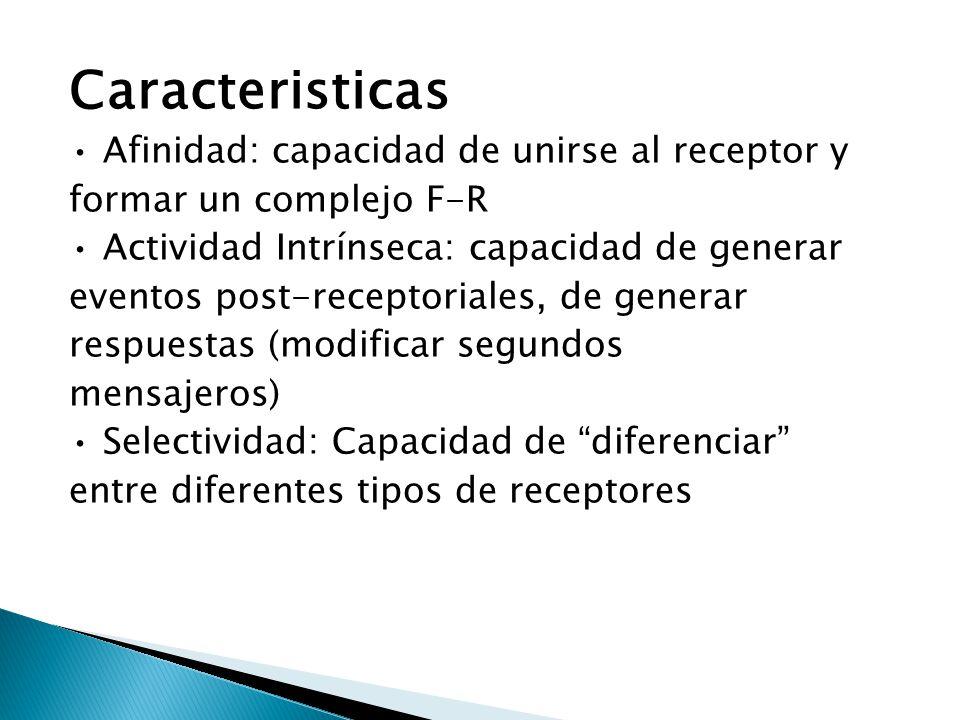 Caracteristicas Afinidad: capacidad de unirse al receptor y formar un complejo F-R Actividad Intrínseca: capacidad de generar eventos post-receptorial