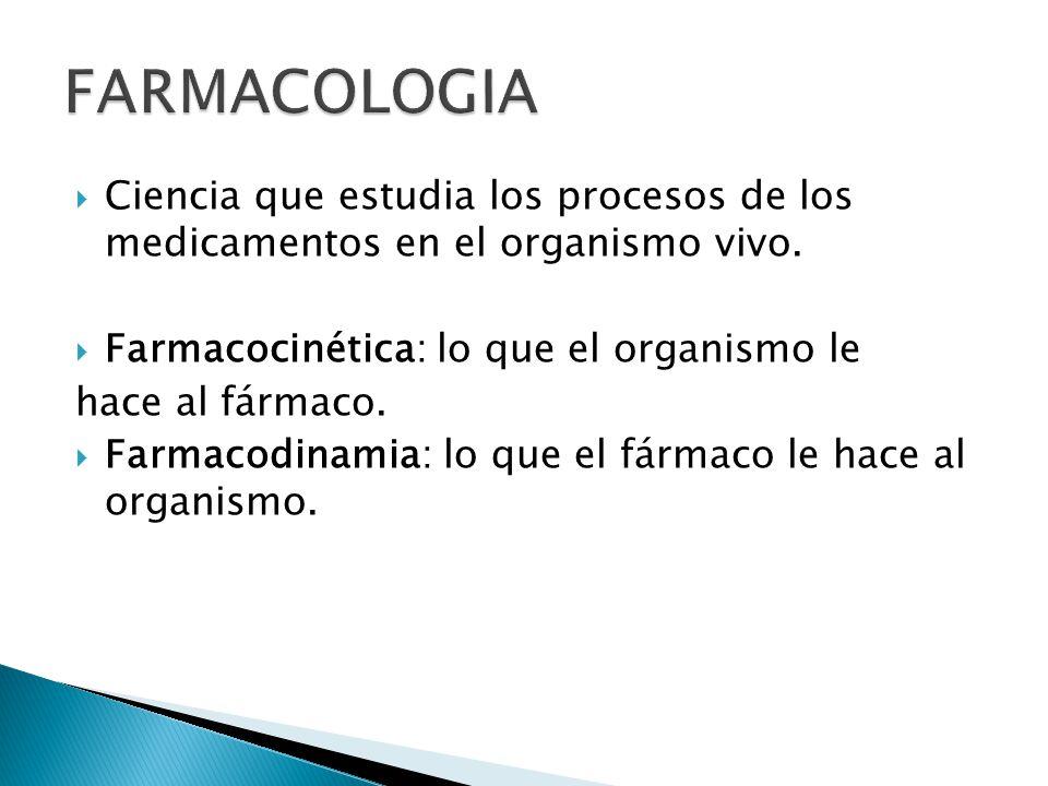 Ciencia que estudia los procesos de los medicamentos en el organismo vivo. Farmacocinética: lo que el organismo le hace al fármaco. Farmacodinamia: lo