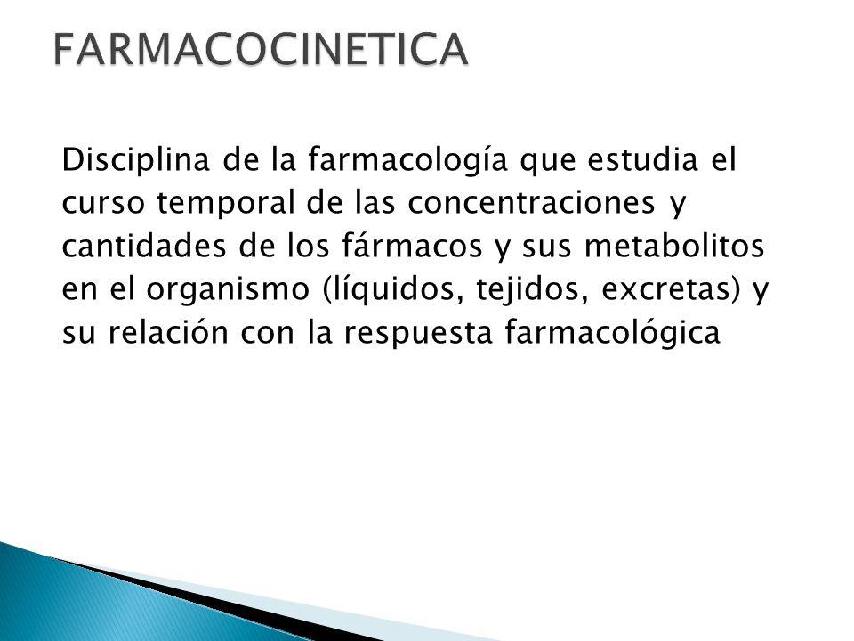 Disciplina de la farmacología que estudia el curso temporal de las concentraciones y cantidades de los fármacos y sus metabolitos en el organismo (líq