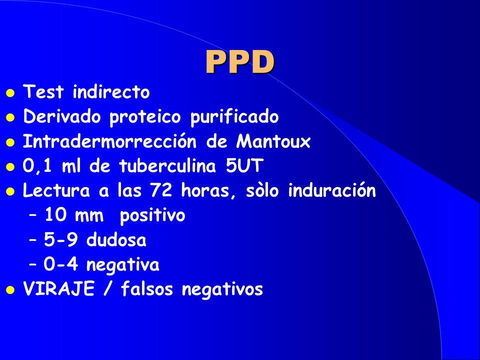 PPD l Test indirecto l Derivado proteico purificado l Intradermorrección de Mantoux l 0,1 ml de tuberculina 5UT l Lectura a las 72 horas, sòlo induración –10 mm positivo –5-9 dudosa –0-4 negativa l VIRAJE / falsos negativos