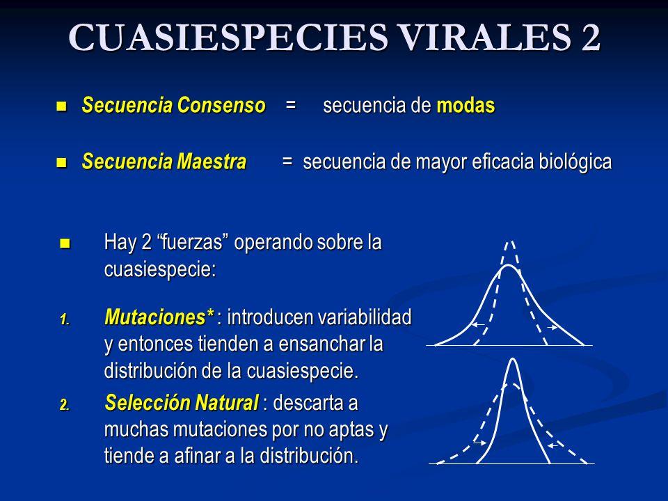 CUASIESPECIES VIRALES 2 Secuencia Consenso = secuencia de modas Secuencia Consenso = secuencia de modas Secuencia Maestra = secuencia de mayor eficaci