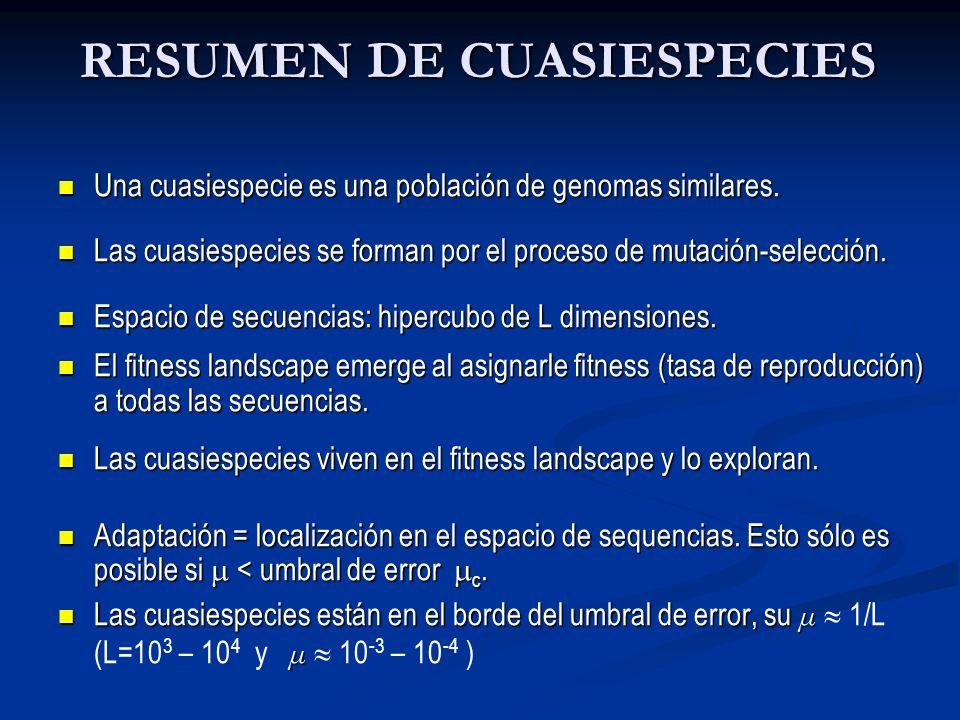 RESUMEN DE CUASIESPECIES Una cuasiespecie es una población de genomas similares. Una cuasiespecie es una población de genomas similares. Las cuasiespe