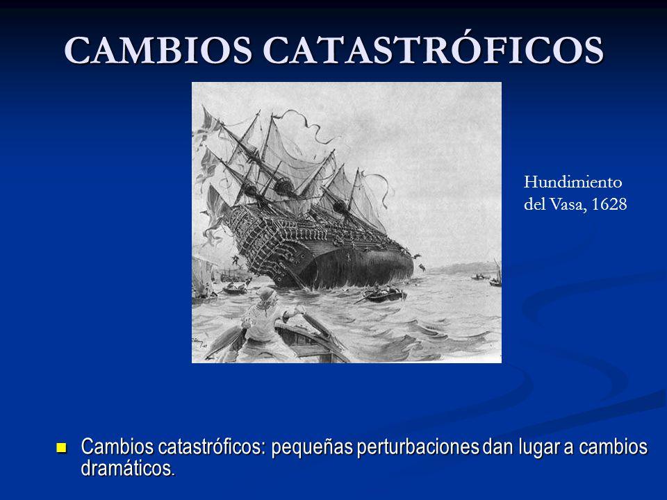 CAMBIOS CATASTRÓFICOS Cambios catastróficos: pequeñas perturbaciones dan lugar a cambios dramáticos. Cambios catastróficos: pequeñas perturbaciones da