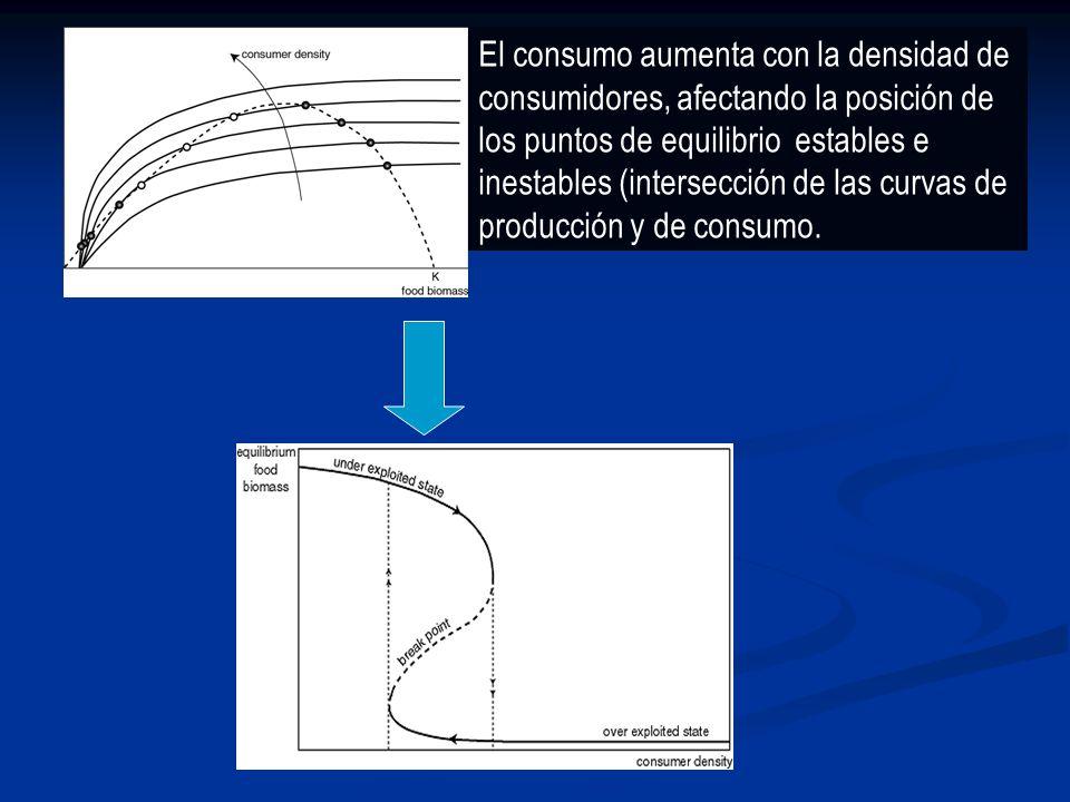 Puntos de equilibrio: intersección de las curvas de producción (dp/dt) y de consumo (dc/dt). Equilibrios estables: círculos negros inestables: blancos