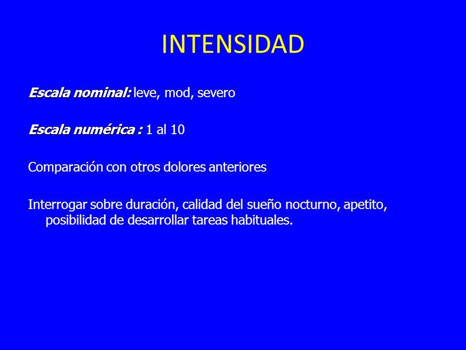 INTENSIDAD Escala nominal: Escala nominal: leve, mod, severo Escala numérica : Escala numérica : 1 al 10 Comparación con otros dolores anteriores Interrogar sobre duración, calidad del sueño nocturno, apetito, posibilidad de desarrollar tareas habituales.