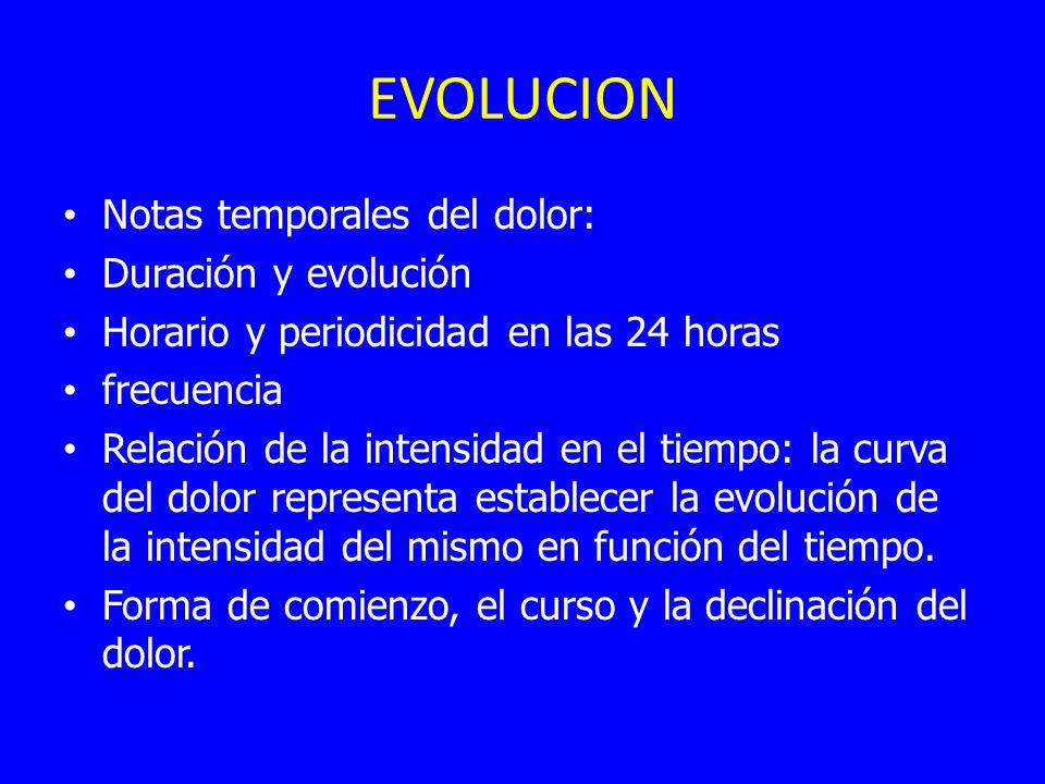 EVOLUCION Notas temporales del dolor: Duración y evolución Horario y periodicidad en las 24 horas frecuencia Relación de la intensidad en el tiempo: la curva del dolor representa establecer la evolución de la intensidad del mismo en función del tiempo.