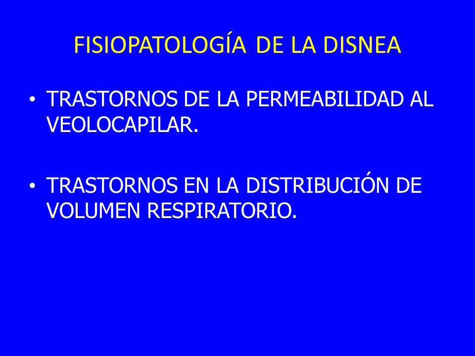 FISIOPATOLOGÍA DE LA DISNEA TRASTORNOS DE LA PERMEABILIDAD AL VEOLOCAPILAR. TRASTORNOS EN LA DISTRIBUCIÓN DE VOLUMEN RESPIRATORIO.