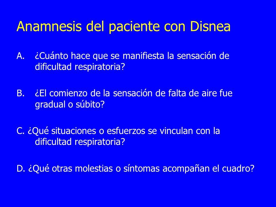Anamnesis del paciente con Disnea A.¿Cuánto hace que se manifiesta la sensación de dificultad respiratoria? B.¿El comienzo de la sensación de falta de