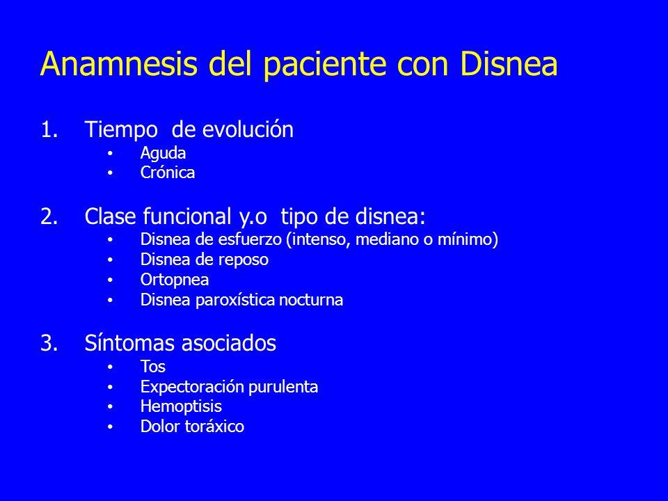 Anamnesis del paciente con Disnea 1.Tiempo de evolución Aguda Crónica 2.Clase funcional y.o tipo de disnea: Disnea de esfuerzo (intenso, mediano o mínimo) Disnea de reposo Ortopnea Disnea paroxística nocturna 3.Síntomas asociados Tos Expectoración purulenta Hemoptisis Dolor toráxico