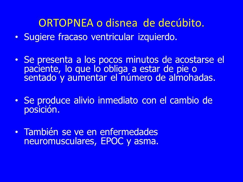 ORTOPNEA o disnea de decúbito. Sugiere fracaso ventricular izquierdo. Se presenta a los pocos minutos de acostarse el paciente, lo que lo obliga a est