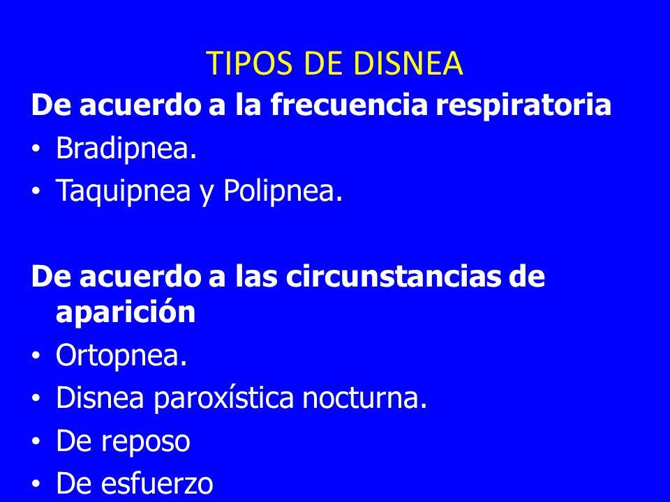 TIPOS DE DISNEA De acuerdo a la frecuencia respiratoria Bradipnea. Taquipnea y Polipnea. De acuerdo a las circunstancias de aparición Ortopnea. Disnea