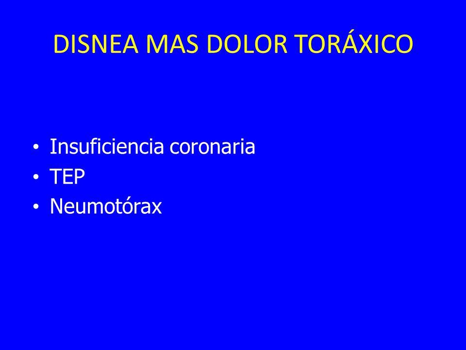 DISNEA MAS DOLOR TORÁXICO Insuficiencia coronaria TEP Neumotórax