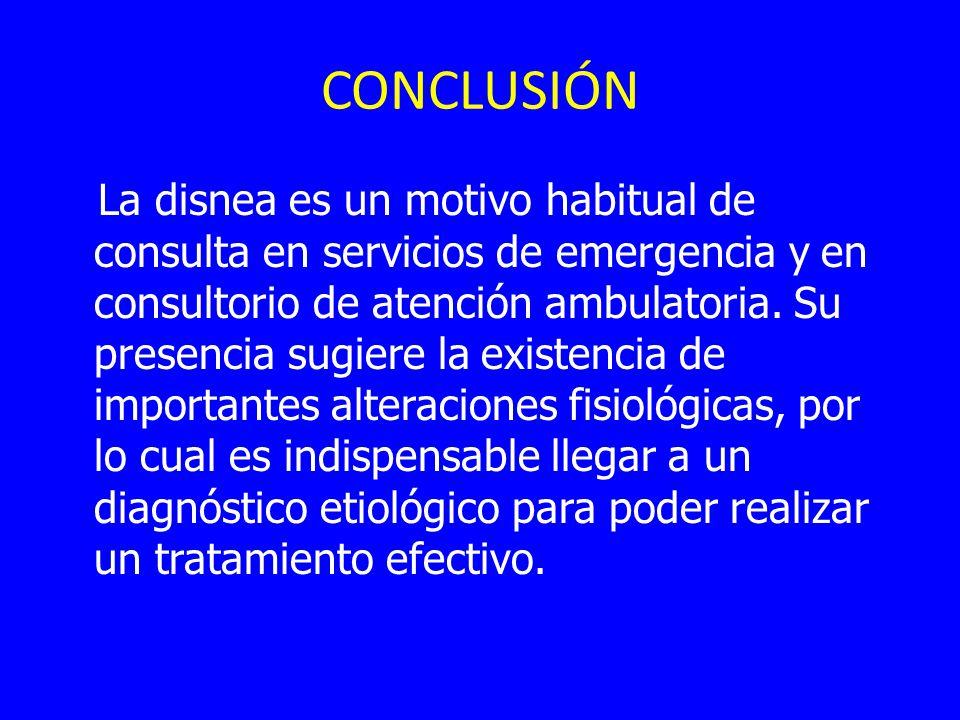 CONCLUSIÓN La disnea es un motivo habitual de consulta en servicios de emergencia y en consultorio de atención ambulatoria. Su presencia sugiere la ex
