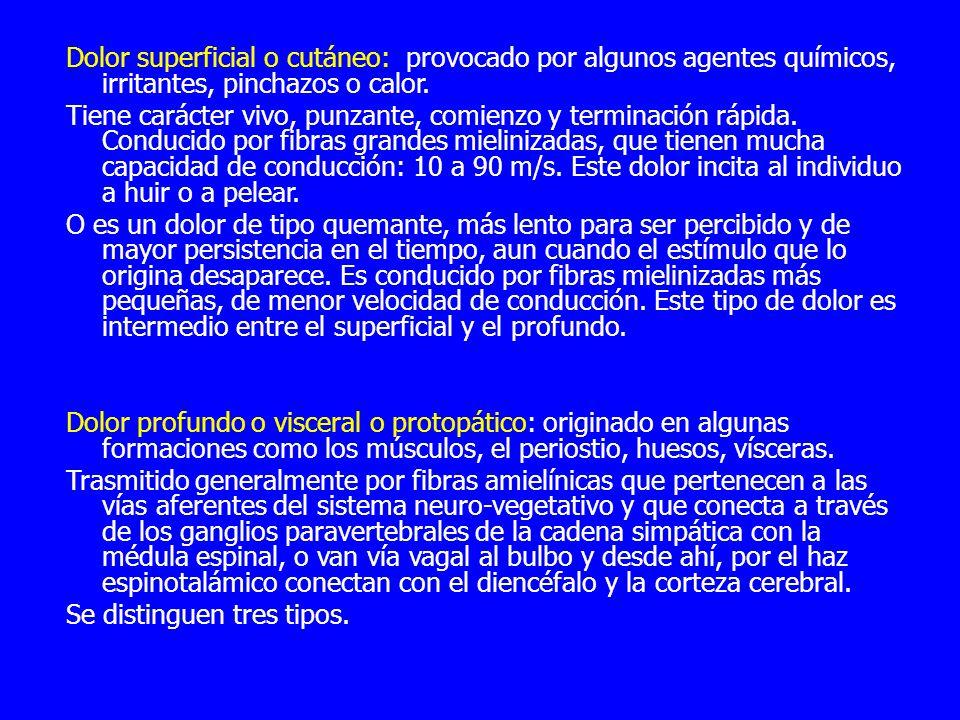 Dolor superficial o cutáneo: provocado por algunos agentes químicos, irritantes, pinchazos o calor. Tiene carácter vivo, punzante, comienzo y terminac