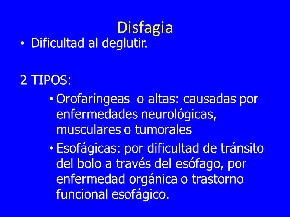 Disfagia Dificultad al deglutir. 2 TIPOS: Orofaríngeas o altas: causadas por enfermedades neurológicas, musculares o tumorales Esofágicas: por dificul