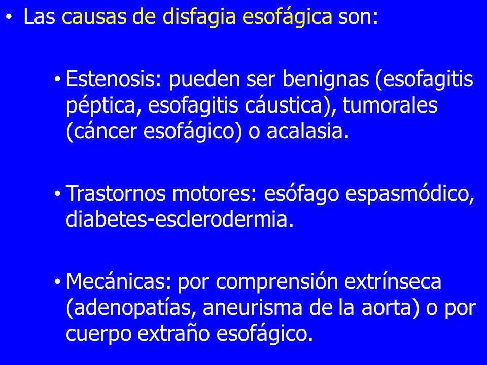 Las causas de disfagia esofágica son: Estenosis: pueden ser benignas (esofagitis péptica, esofagitis cáustica), tumorales (cáncer esofágico) o acalasia.