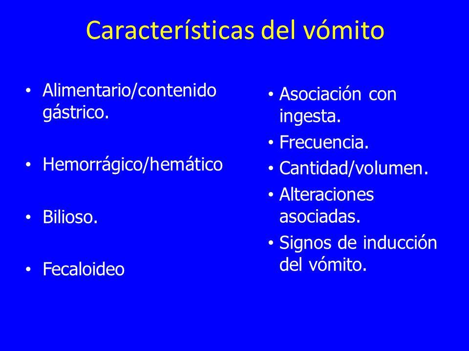 Características del vómito Alimentario/contenido gástrico.
