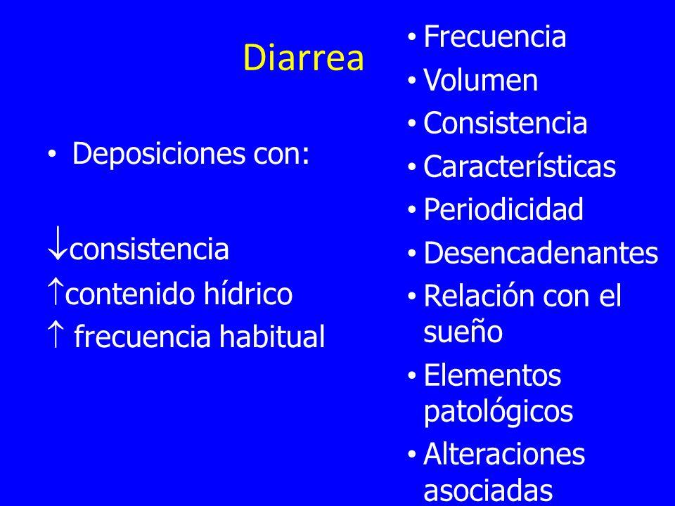 Diarrea Deposiciones con: consistencia contenido hídrico frecuencia habitual Frecuencia Volumen Consistencia Características Periodicidad Desencadenantes Relación con el sueño Elementos patológicos Alteraciones asociadas
