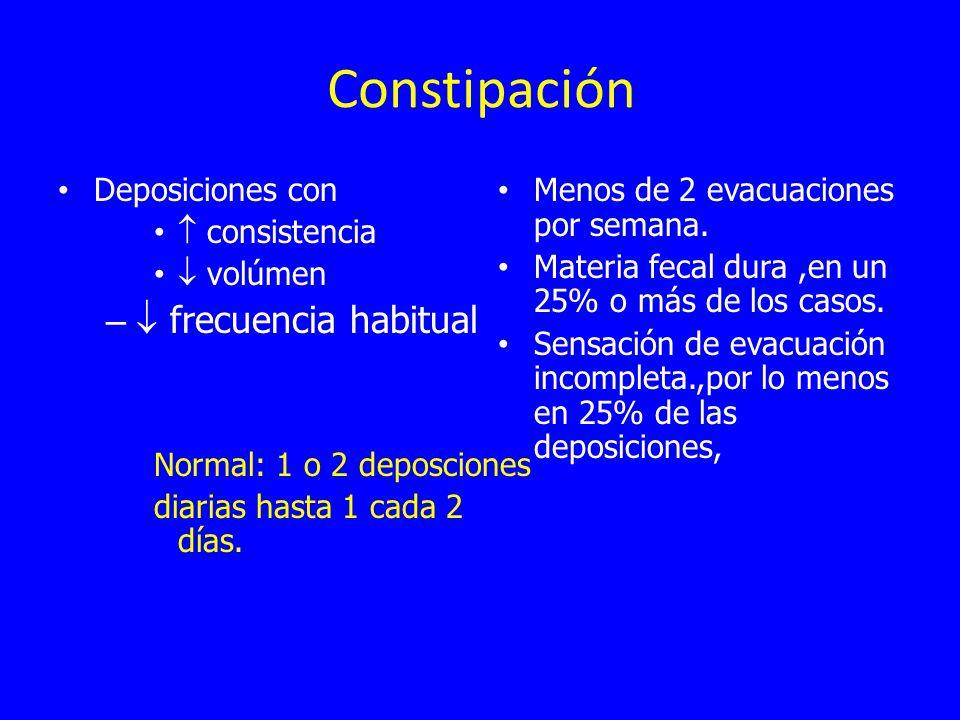 Constipación Deposiciones con consistencia volúmen – frecuencia habitual Normal: 1 o 2 deposciones diarias hasta 1 cada 2 días. Menos de 2 evacuacione
