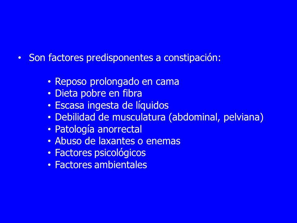 Son factores predisponentes a constipación: Reposo prolongado en cama Dieta pobre en fibra Escasa ingesta de líquidos Debilidad de musculatura (abdominal, pelviana) Patología anorrectal Abuso de laxantes o enemas Factores psicológicos Factores ambientales