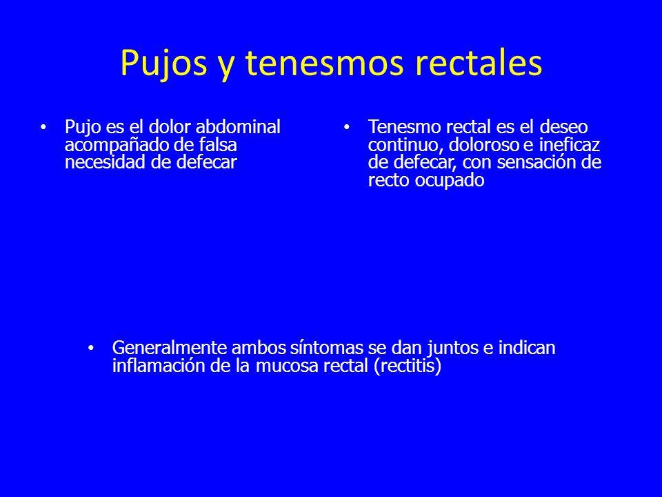 Pujos y tenesmos rectales Pujo es el dolor abdominal acompañado de falsa necesidad de defecar Tenesmo rectal es el deseo continuo, doloroso e ineficaz de defecar, con sensación de recto ocupado Generalmente ambos síntomas se dan juntos e indican inflamación de la mucosa rectal (rectitis)