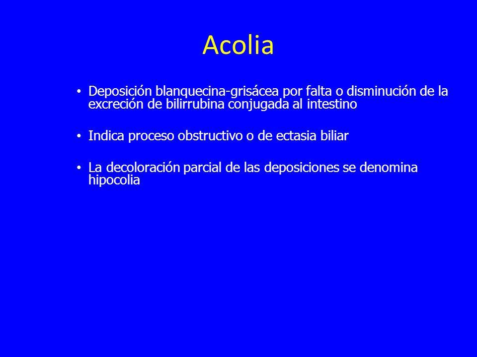 Acolia Deposición blanquecina-grisácea por falta o disminución de la excreción de bilirrubina conjugada al intestino Indica proceso obstructivo o de ectasia biliar La decoloración parcial de las deposiciones se denomina hipocolia