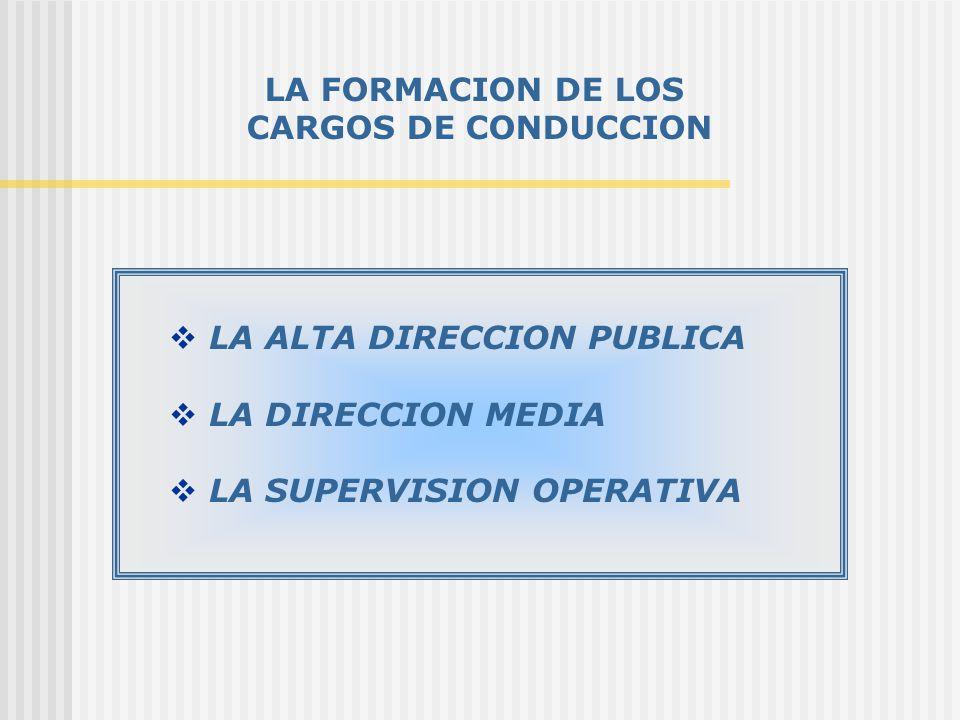LA FORMACION DE LOS CARGOS DE CONDUCCION LA ALTA DIRECCION PUBLICA LA DIRECCION MEDIA LA SUPERVISION OPERATIVA