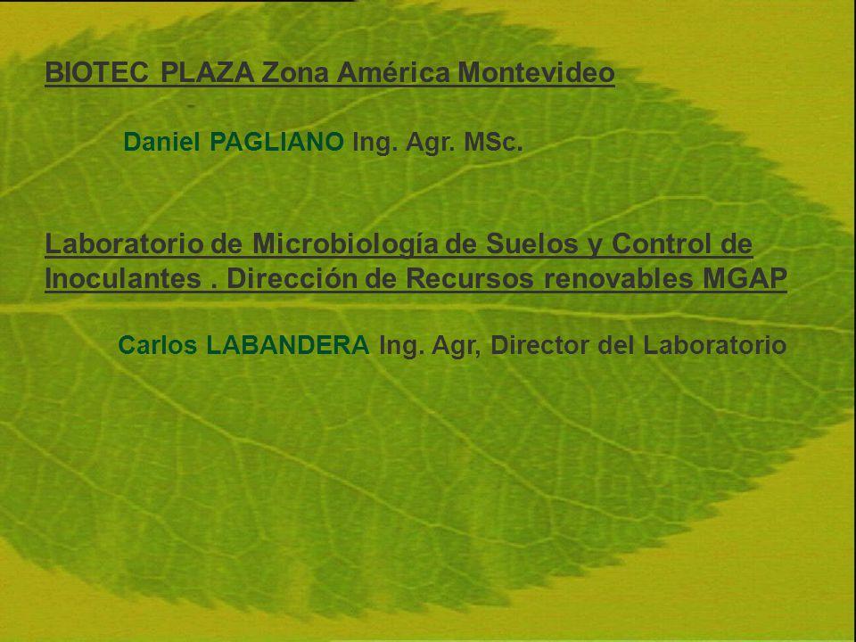 BIOTEC PLAZA Zona América Montevideo Daniel PAGLIANO Ing. Agr. MSc. Laboratorio de Microbiología de Suelos y Control de Inoculantes. Dirección de Recu