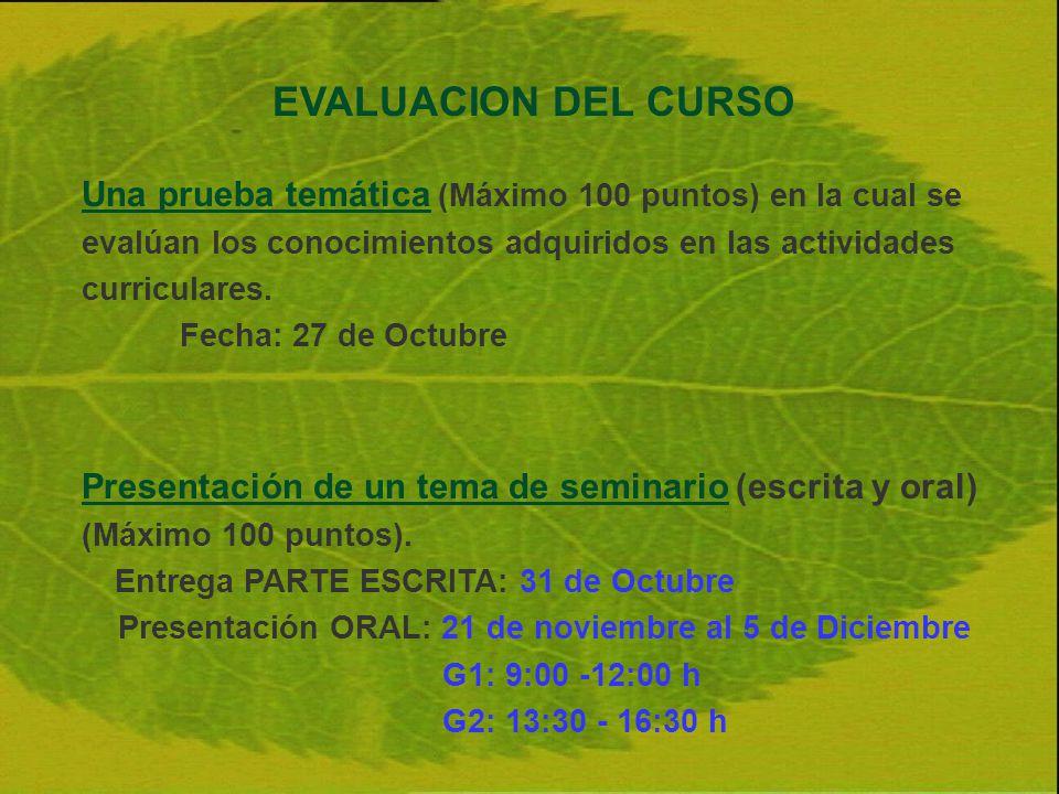 EVALUACION DEL CURSO Una prueba temática (Máximo 100 puntos) en la cual se evalúan los conocimientos adquiridos en las actividades curriculares. Fecha