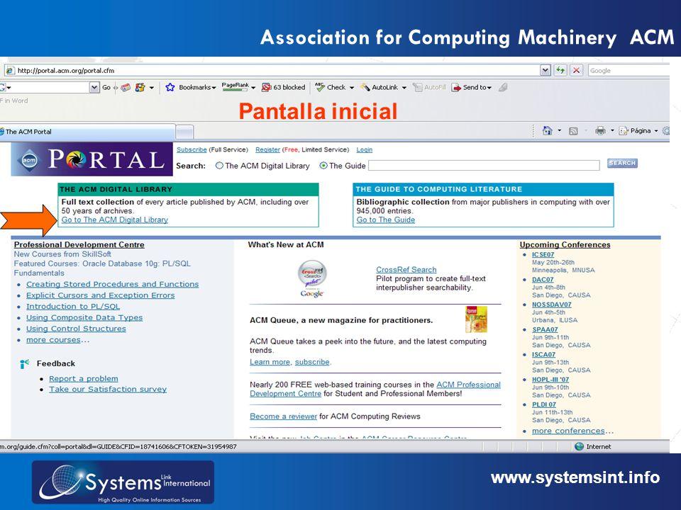 www.sysemsint.infowww.systemsint.info Association for Computing Machinery ACM 1-búsqueda simple 2-búsqueda avanzada 3-revisar por tipo de publicación Digite una palabra o frase en la ventana de búsqueda.