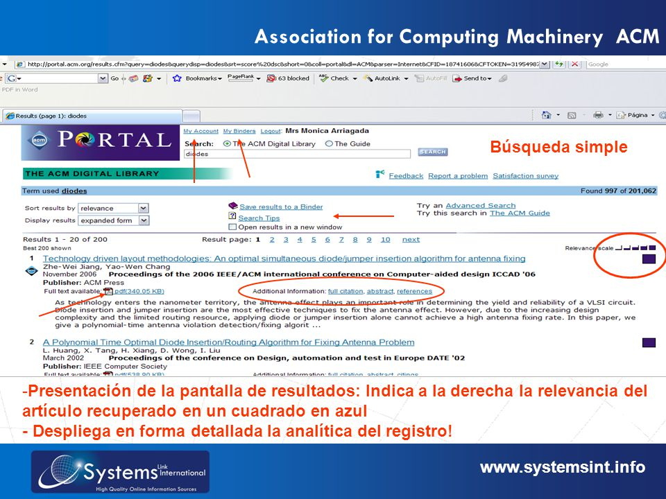 www.sysemsint.infowww.systemsint.info Association for Computing Machinery ACM Búsqueda simple -Presentación de la pantalla de resultados: Indica a la