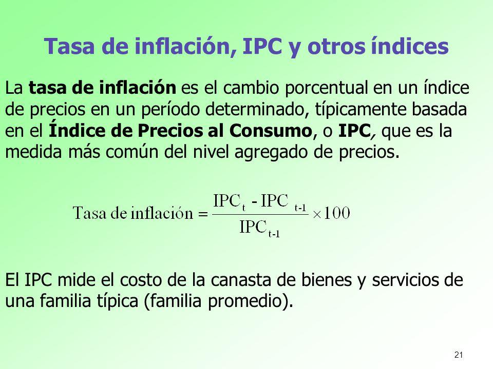 Tasa de inflación, IPC y otros índices La tasa de inflación es el cambio porcentual en un índice de precios en un período determinado, típicamente bas