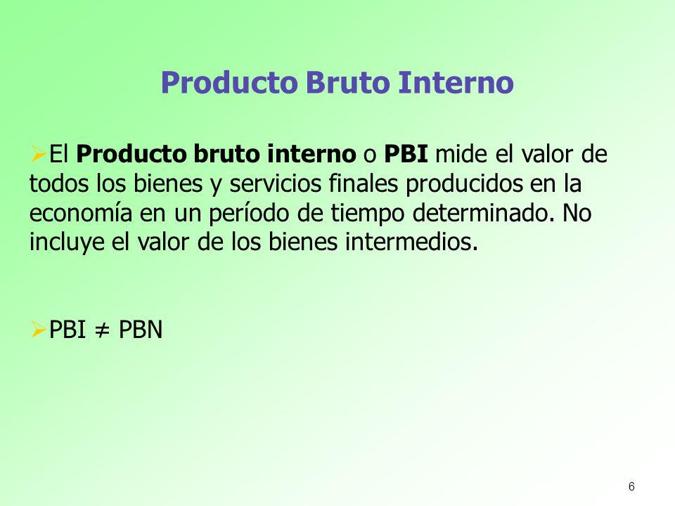 Producto Bruto Interno 6 El Producto bruto interno o PBI mide el valor de todos los bienes y servicios finales producidos en la economía en un período