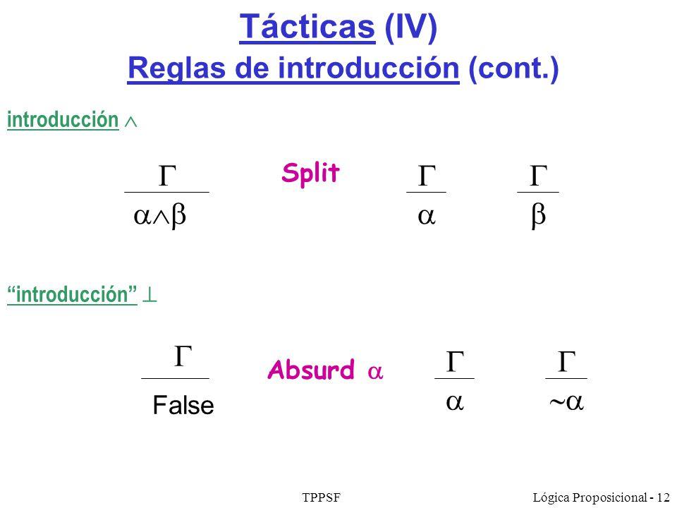 TPPSFLógica Proposicional - 12 Tácticas (IV) Reglas de introducción (cont.) Absurd False introducción Split introducción